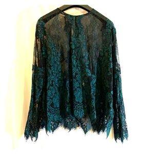 Zara Green Lace Sheer Long Sleeve Top Size Large